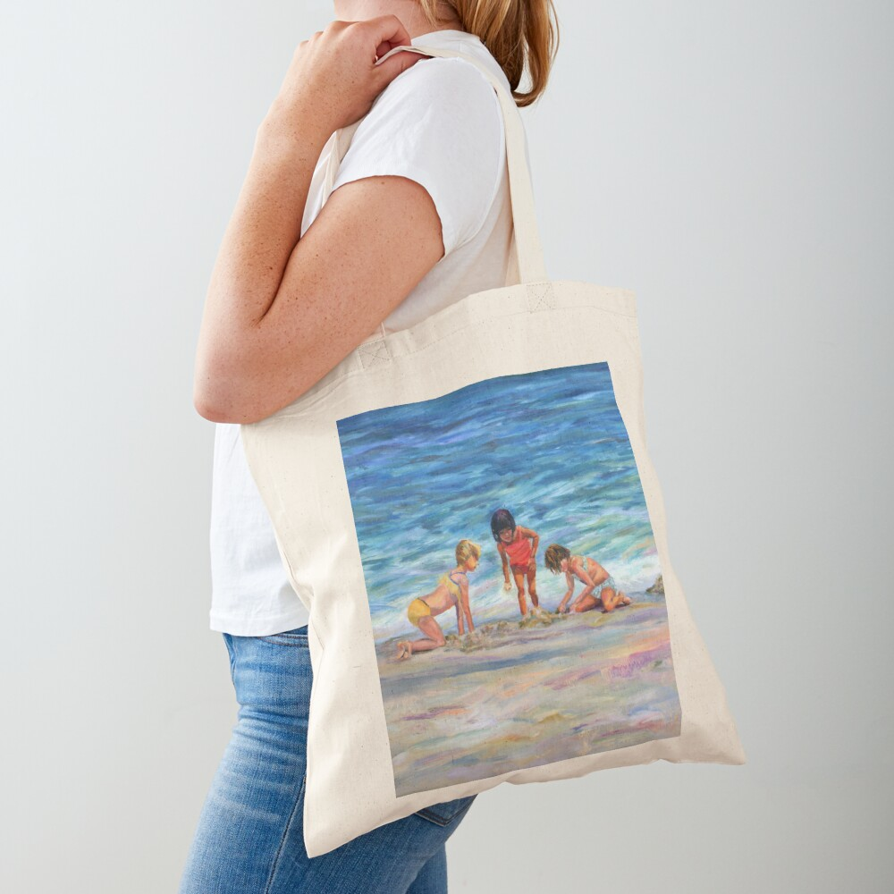 Beach Kids. From original oil painting on Long Beach Island, NJ by Pamela Parsons Tote Bag