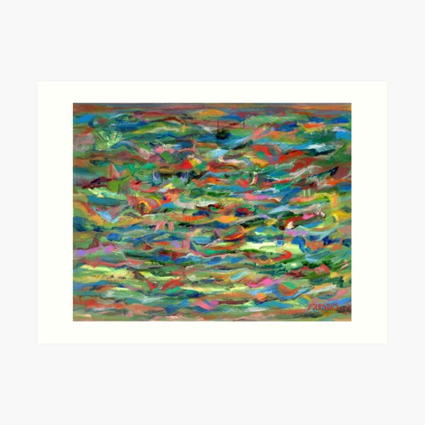 Birds Flying Over Water. From original painting by Pamela Parsons. Art Print