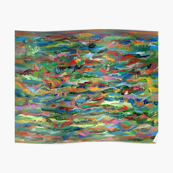 Birds Flying Over Water. From original painting by Pamela Parsons. Poster
