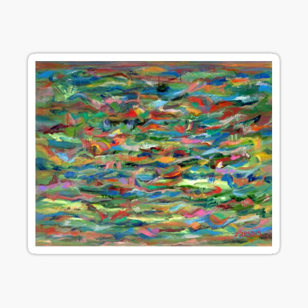 Birds Flying Over Water. From original painting by Pamela Parsons. Sticker