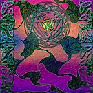 Celtic Rose with a Rainbow Glow by anankeblue