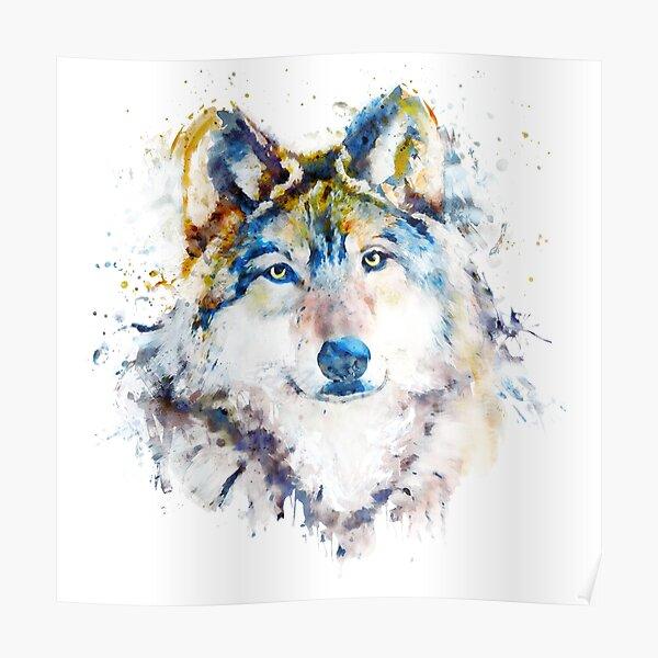 Wolf Face Watercolor Portrait Poster