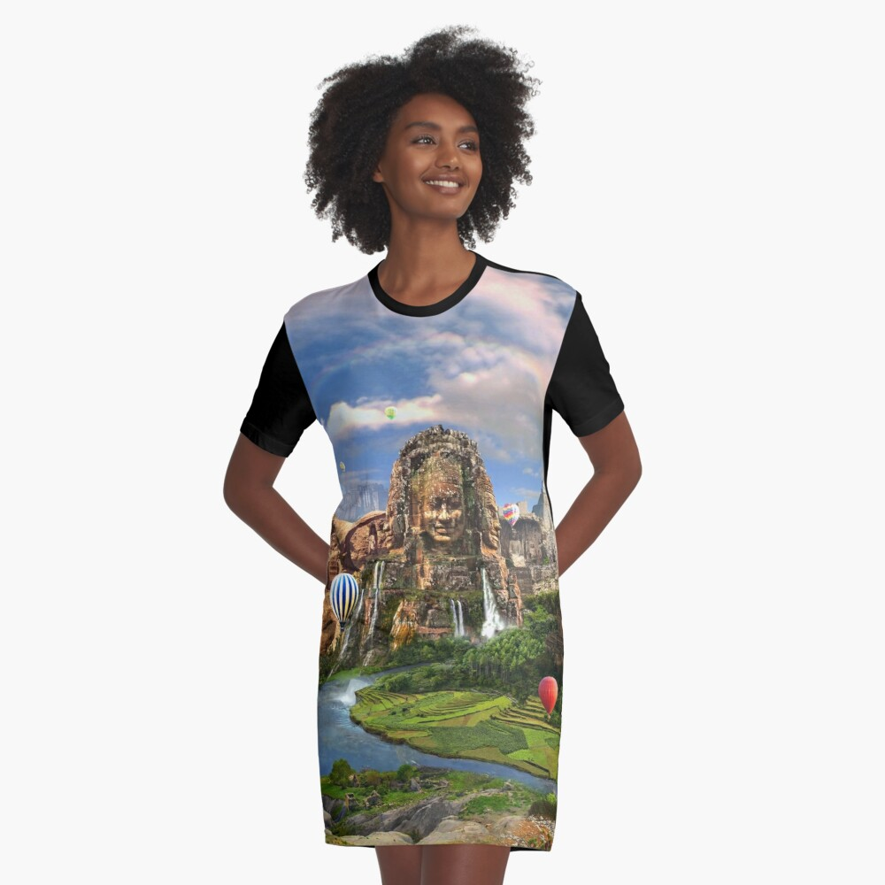 Valley Of The Temples - spiritual, peaceful temple art coexist Graphic T-Shirt Dress