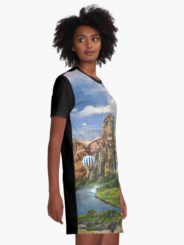 Alternate view of Valley Of The Temples - spiritual, peaceful temple art coexist Graphic T-Shirt Dress