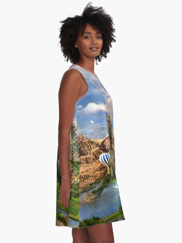 Alternate view of Valley Of The Temples - spiritual, peaceful temple art coexist A-Line Dress