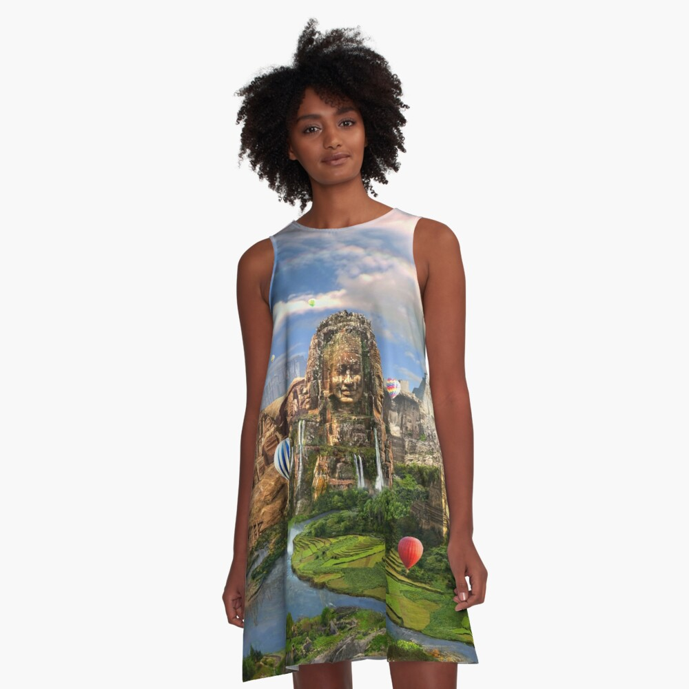 Valley Of The Temples - spiritual, peaceful temple art coexist A-Line Dress