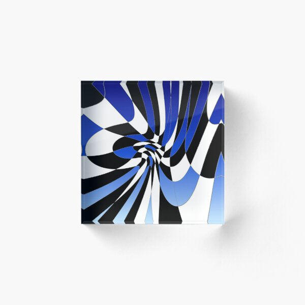 GEOM BLUE B&W ABSTRACT Acrylic Block