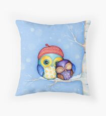 Owl in a Little Red Beret Throw Pillow