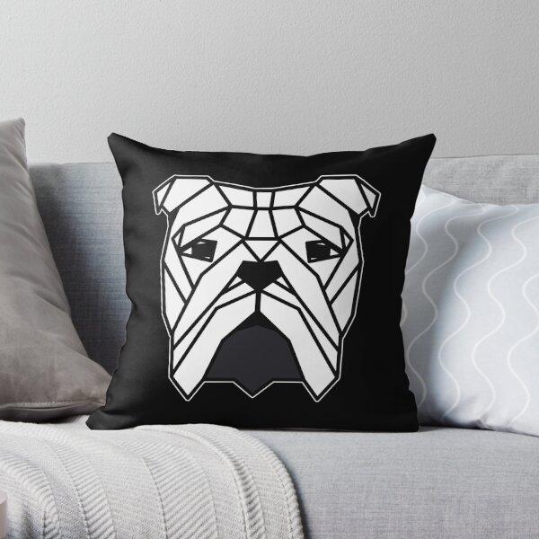 Bulldog Head Triangles Throw Pillow