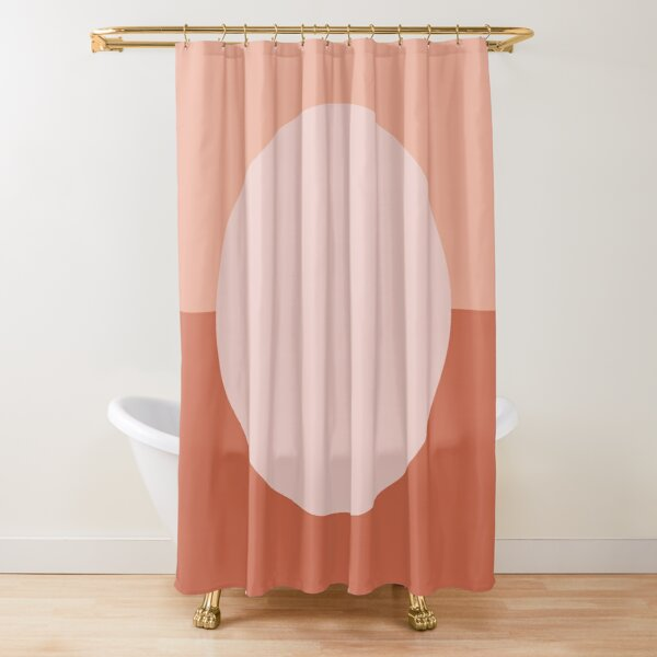 Dotty Half Half. Minimalist Geometric Pattern in Blush Pink and Clay Shower Curtain