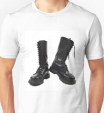 Pair of black leather bovver boots Unisex T-Shirt