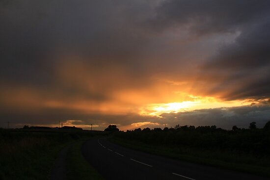 Sunburst between Rain Storms, Weather Gleam at Darlington. England by Ian Alex Blease