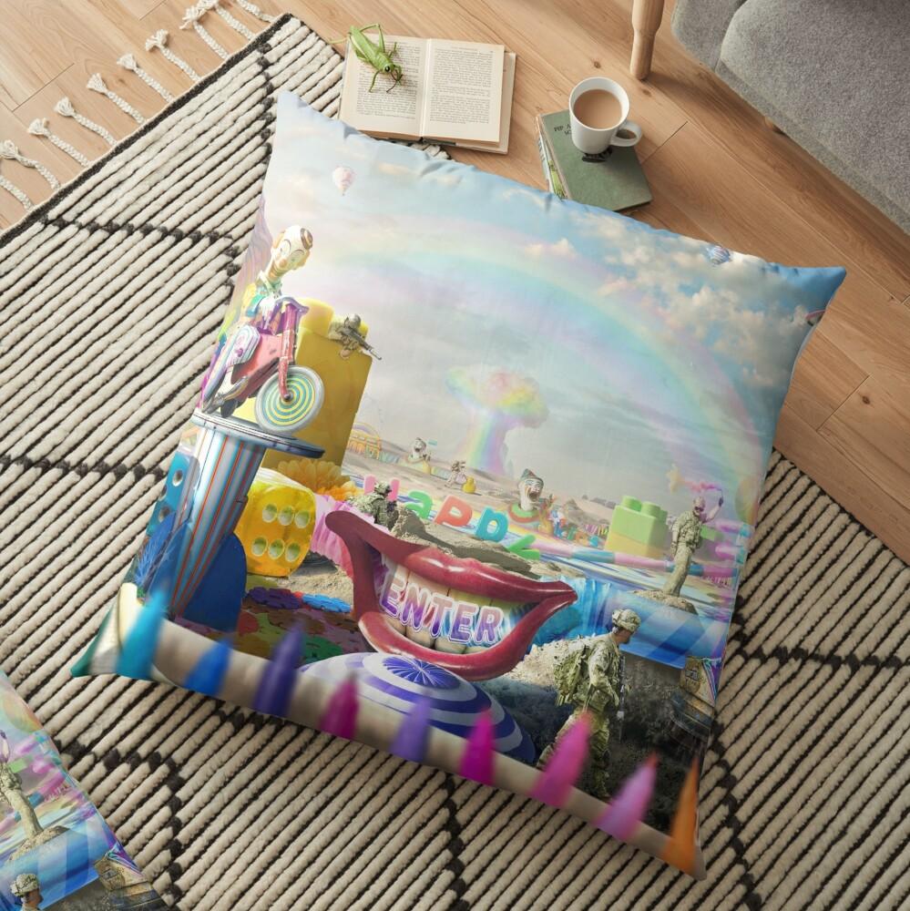 Clown Wasteland - trippy, surreal art Floor Pillow