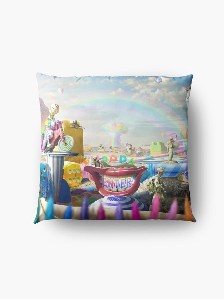 Alternate view of Clown Wasteland - trippy, surreal art Floor Pillow
