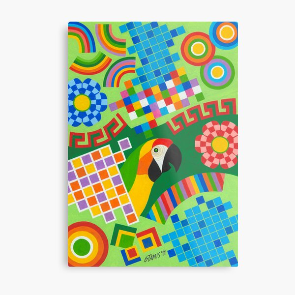 Colors An Shapes With Squares - Brush And Gouache Metal Print