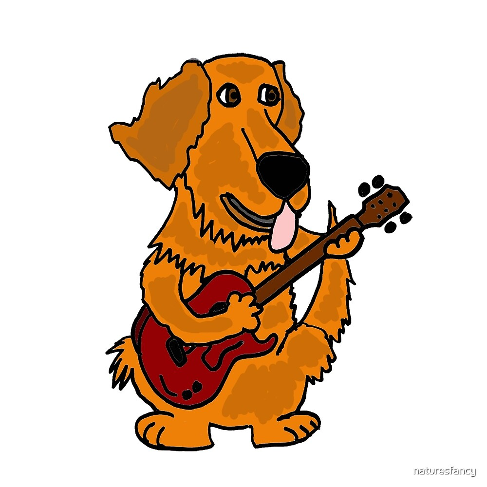 Funny Golden Retriever Dog Playing Red Guitar by naturesfancy