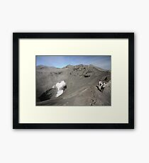 Tourists viewing the caldera of Bromo Mountain (Gunung Bromo) Framed Print