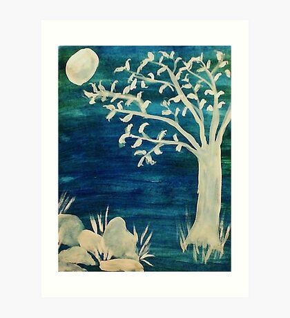 Tree in the dark,BOOOOOO, watercolor Art Print