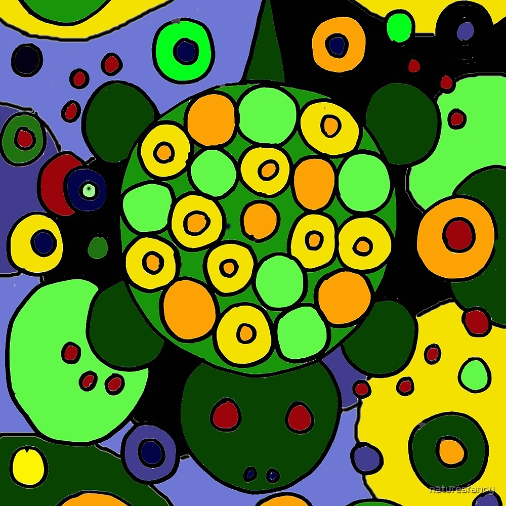 Funky Green Turtle Abstract Art Original by naturesfancy