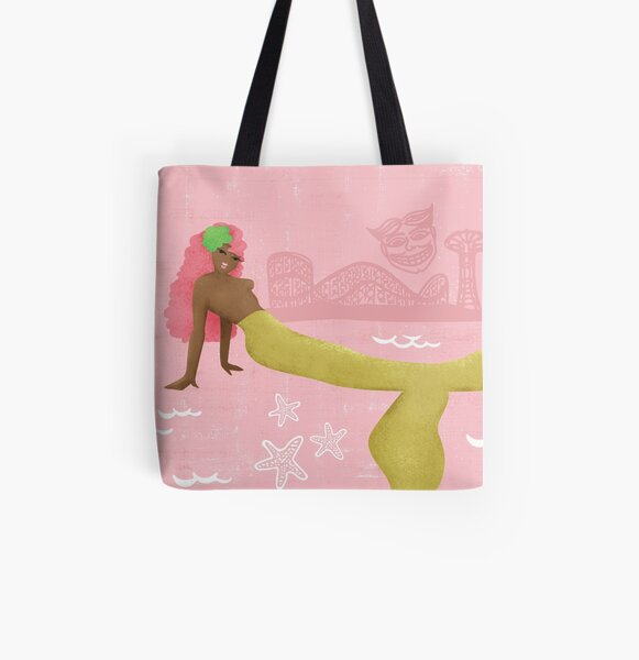 Coney Island Mermaid with Pink Hair All Over Print Tote Bag