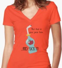 Put that in your juice box... Women's Fitted V-Neck T-Shirt