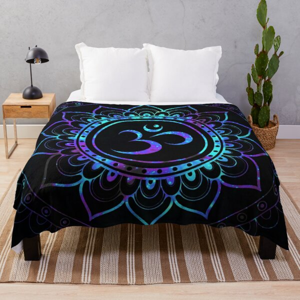 Om Mandala: Purple Teal Blue Galaxy  Throw Blanket