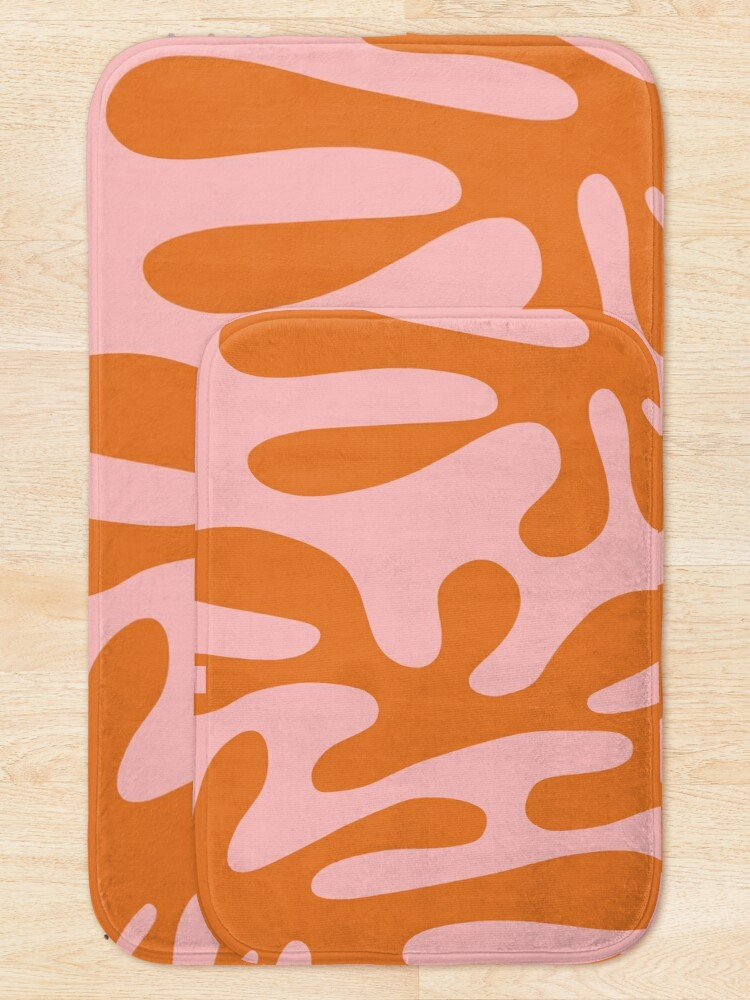 Alternate view of Funky Cutouts Abstract Minimalist Pattern in Burnt Orange and Pink Bath Mat