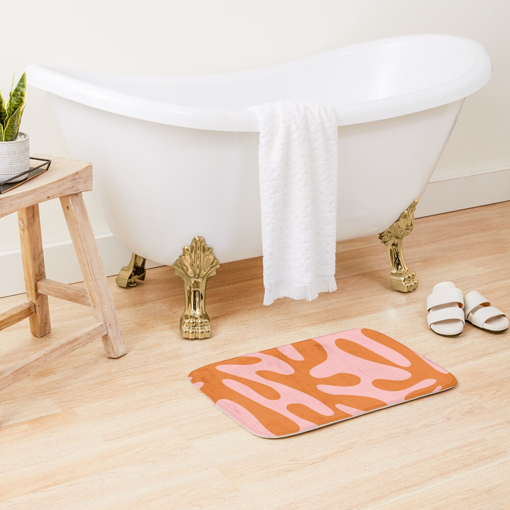 Funky Cutouts Abstract Minimalist Pattern in Burnt Orange and Pink Bath Mat