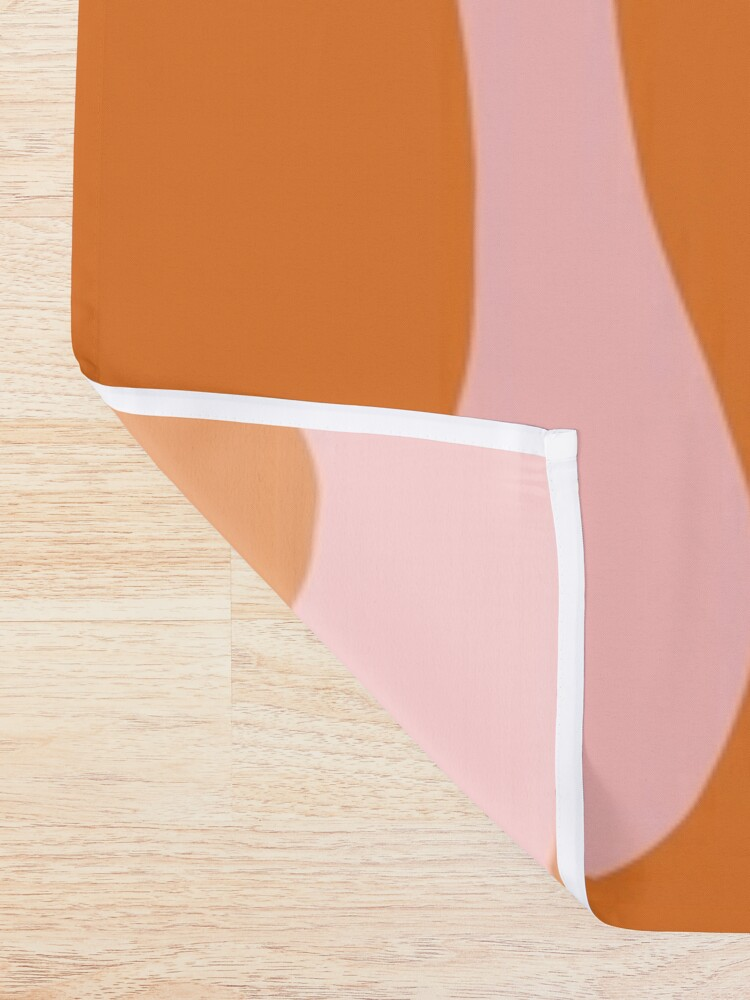 Alternate view of Funky Cutouts Abstract Minimalist Pattern in Burnt Orange and Pink Shower Curtain