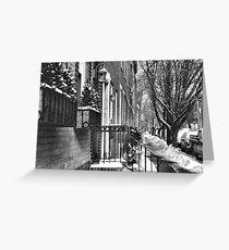 streetscape in the snow Greeting Card