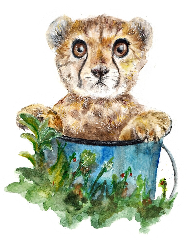 Gepard cub watercolor by AnnaShell