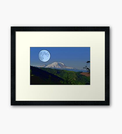 Moon Over Rainier Framed Print