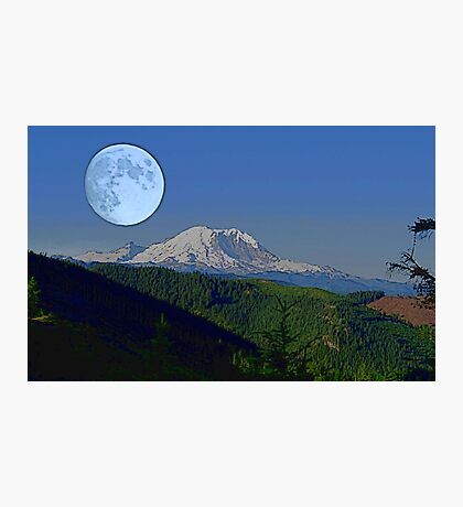 Moon Over Rainier Photographic Print