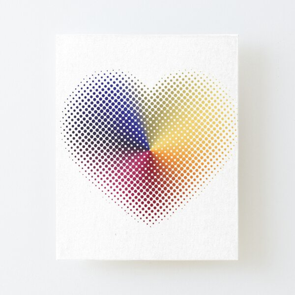Angle Gradient on Halftone Heart (White) Canvas Mounted Print