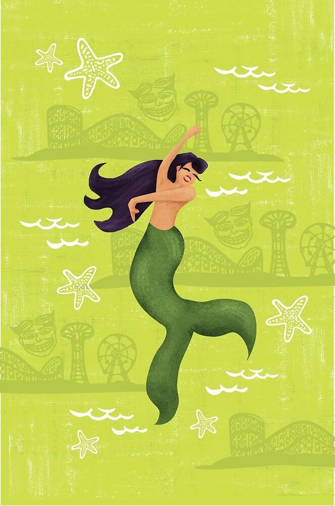 Coney Island Mermaid with Black Hair by lasirenadesign