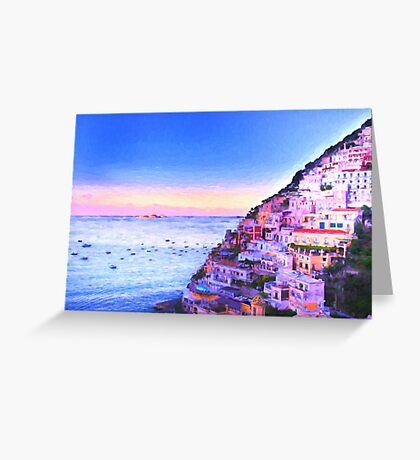 Digital Painting Of Positano Italy At Sunset Greeting Card