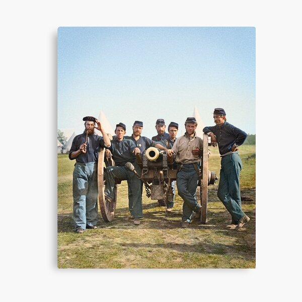 Union soldiers posing with a cannon, ca 1862 Canvas Print