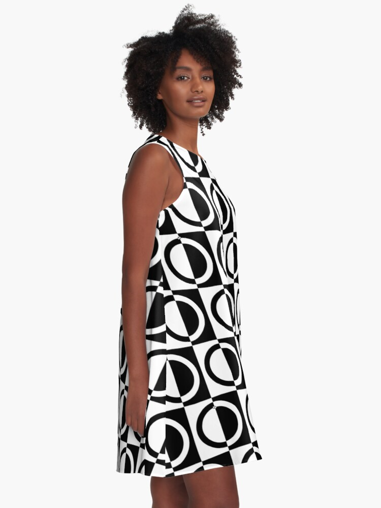Alternate view of Black on White Circles and Squares Pattern A-Line Dress