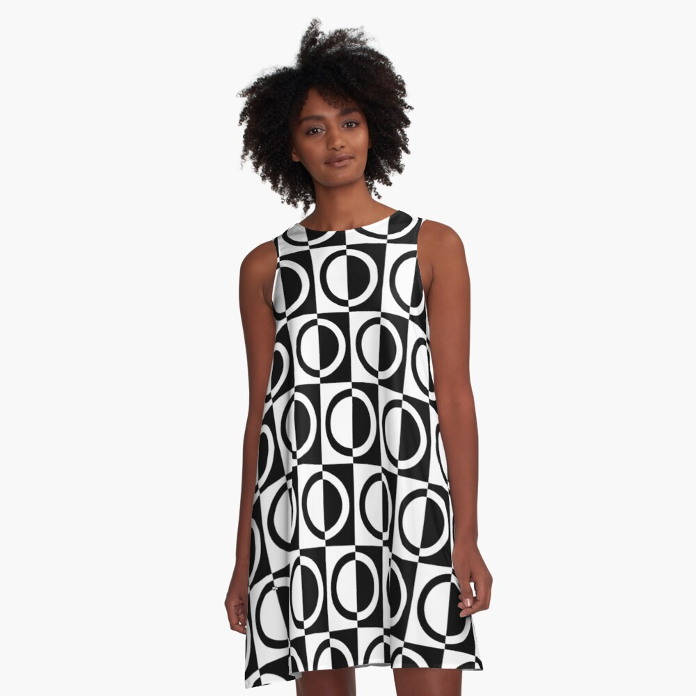 Black on White Circles and Squares Pattern A-Line Dress