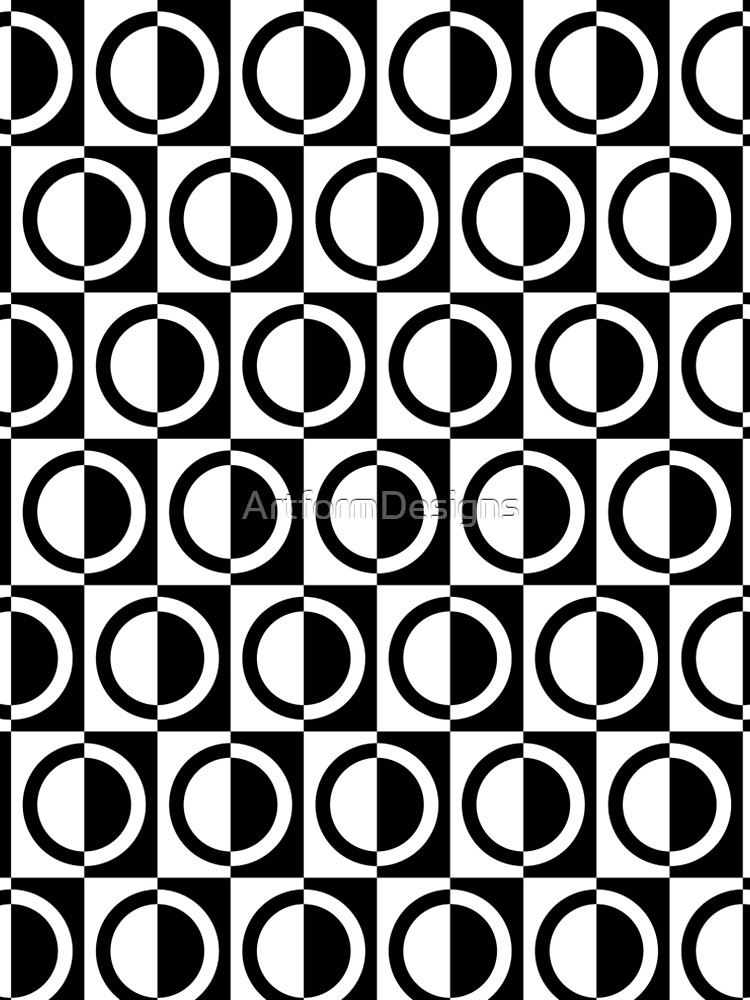 Black on White Circles and Squares Pattern by ArtformDesigns