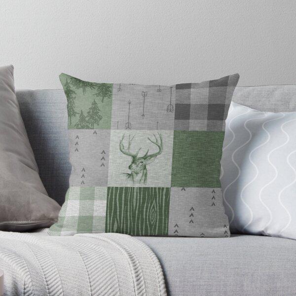 Rustic Deer Patchwork - Green/Grey Throw Pillow