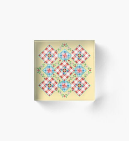 Cottage Chic Gingham Patchwork Acrylic Block