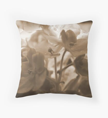 Violets in Sepia Throw Pillow