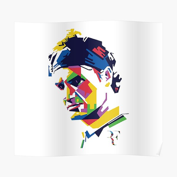 Roger Federer colores abstractos Póster