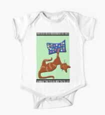 Cat with her Pillow One Piece - Short Sleeve