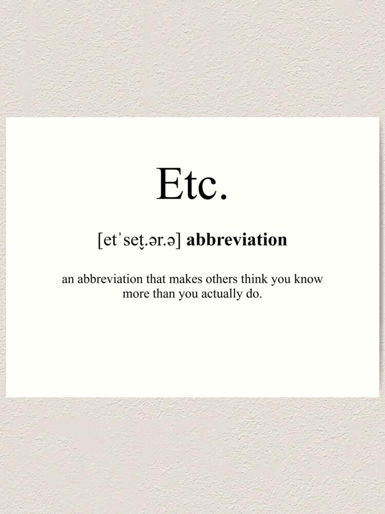 Etc Definition