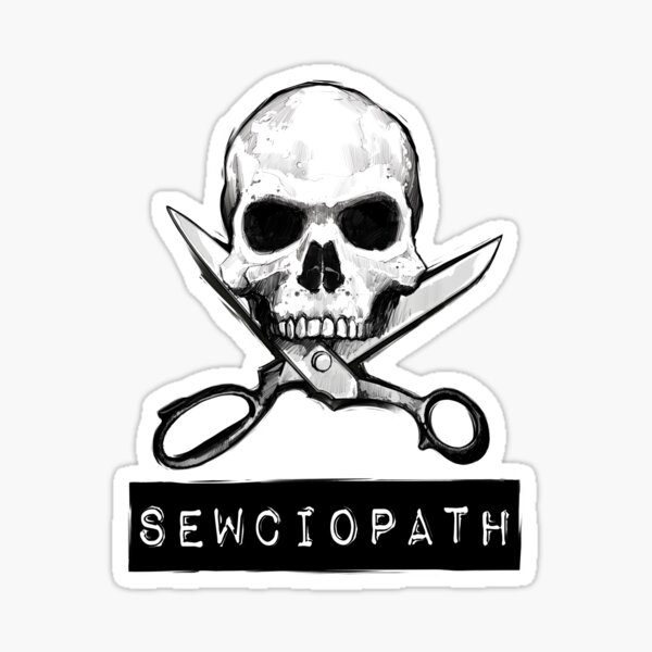 Sewciopath skull and cross scissors Sticker
