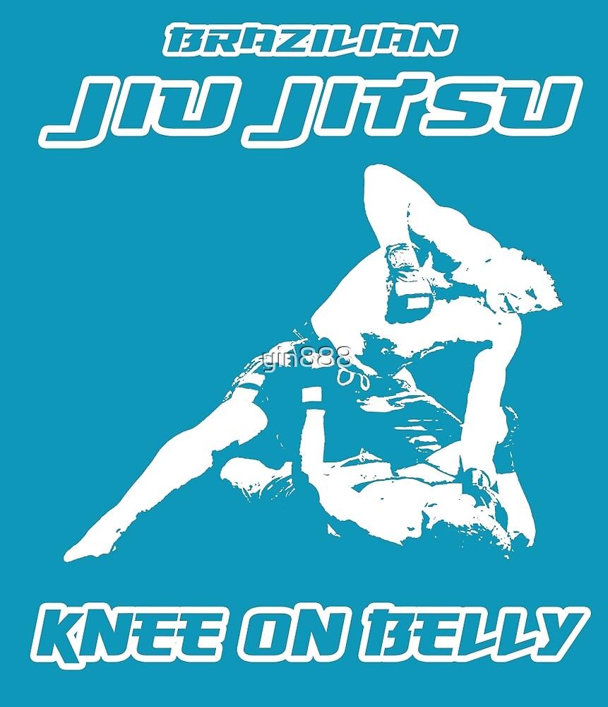 Brazilian Jiu Jitsu Knee On Belly Blue by yin888