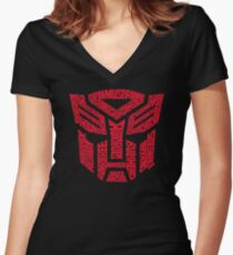 Transformers Autobots Red Women's Fitted V-Neck T-Shirt