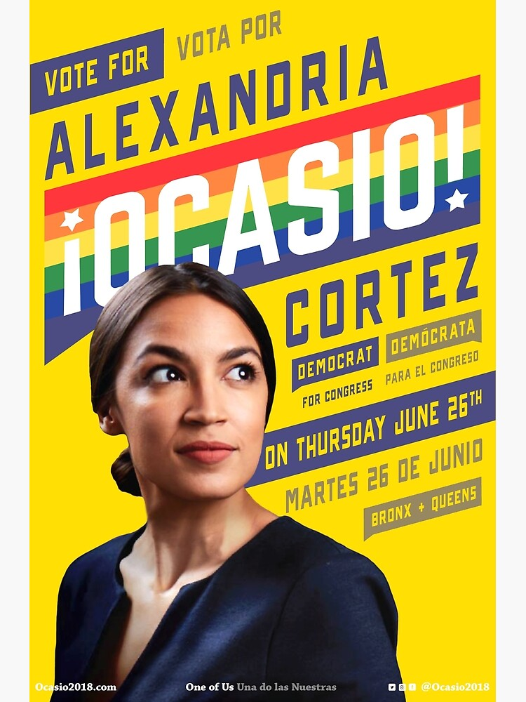 Alexandria Ocasio-Cortez Congressional Campaign Poster (Pride version) by TrainWreckTees